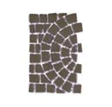 บล๊อกปูถนน คาร์เพทสโตน Carpet Stone Half-Circle ครึ่งวงกลม Black Grey ผิวเรียบ 80x52.5x3.5ซม 22กก./ผืน