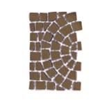 บล๊อกปูถนน คาร์เพทสโตน Carpet Stone Half-Circle ครึ่งวงกลม Dark Brown ผิวพ่นทราย 80x52.5x3.5ซม14กก/ผืน